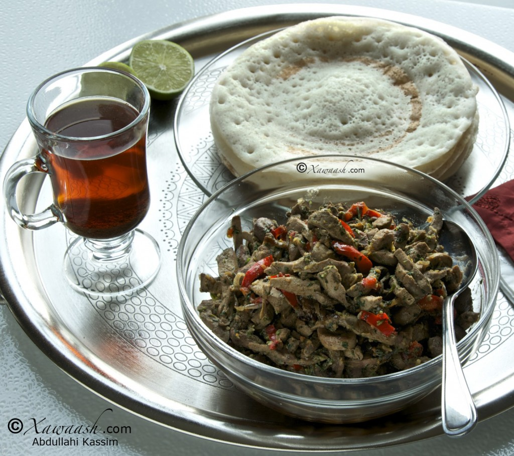 Somali Anjero served with Liver and Onions