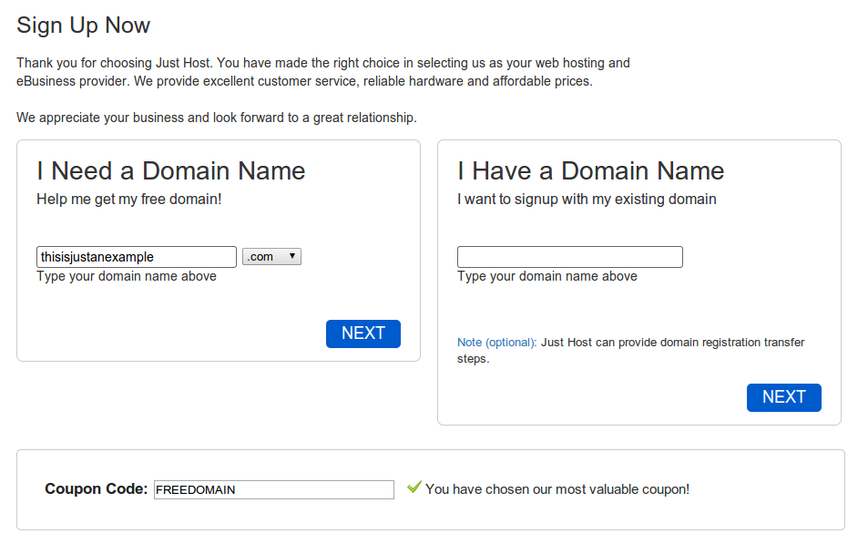 Step 1: Choose a host & domain name