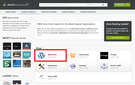 Step 2-3: WordPress One-Click